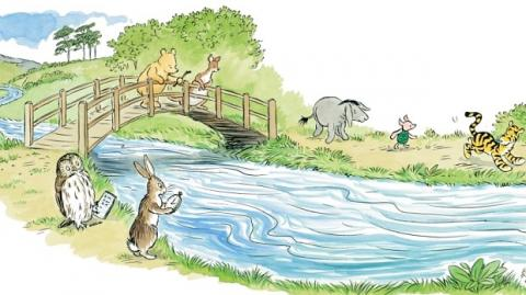 "Illustration from 'The Poohsticks Handbook: A Poohstickopedia' by Mark Evans (Egmont Publishing).  Illustrations by Mark Burgess after E H Shephard. Copyright 2015 Disney Enterprises Inc. Based on the ""Winnie-the-Pooh"" works by A.A. Milne and E.H. Shephard"